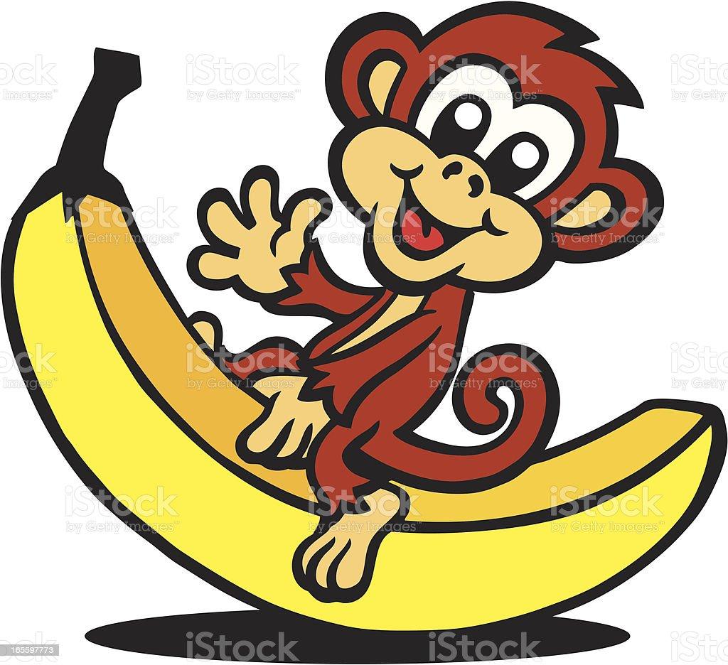 Macaco sentado com Banana ilustração de macaco sentado com banana e mais banco de imagens de amarelo royalty-free