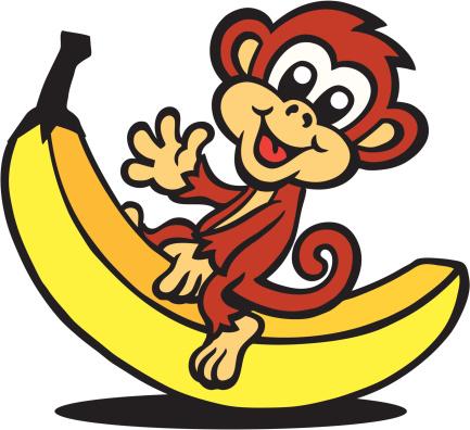 Monkey Sitting On Banana