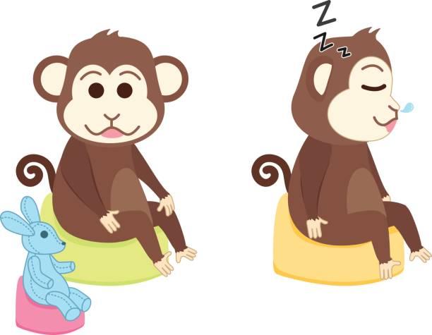 affe sitzt auf töpfchen spiel- und schlafräume - puppenkurse stock-grafiken, -clipart, -cartoons und -symbole