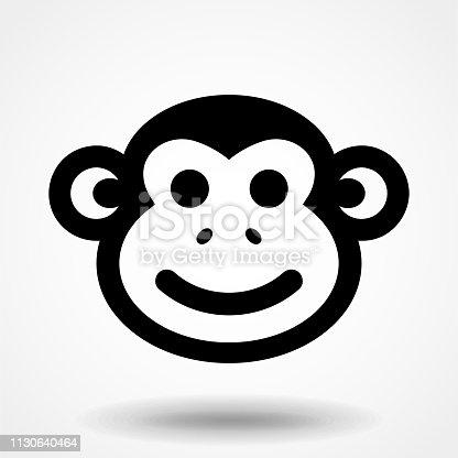 Monkey smile face illustration. Monkey icon