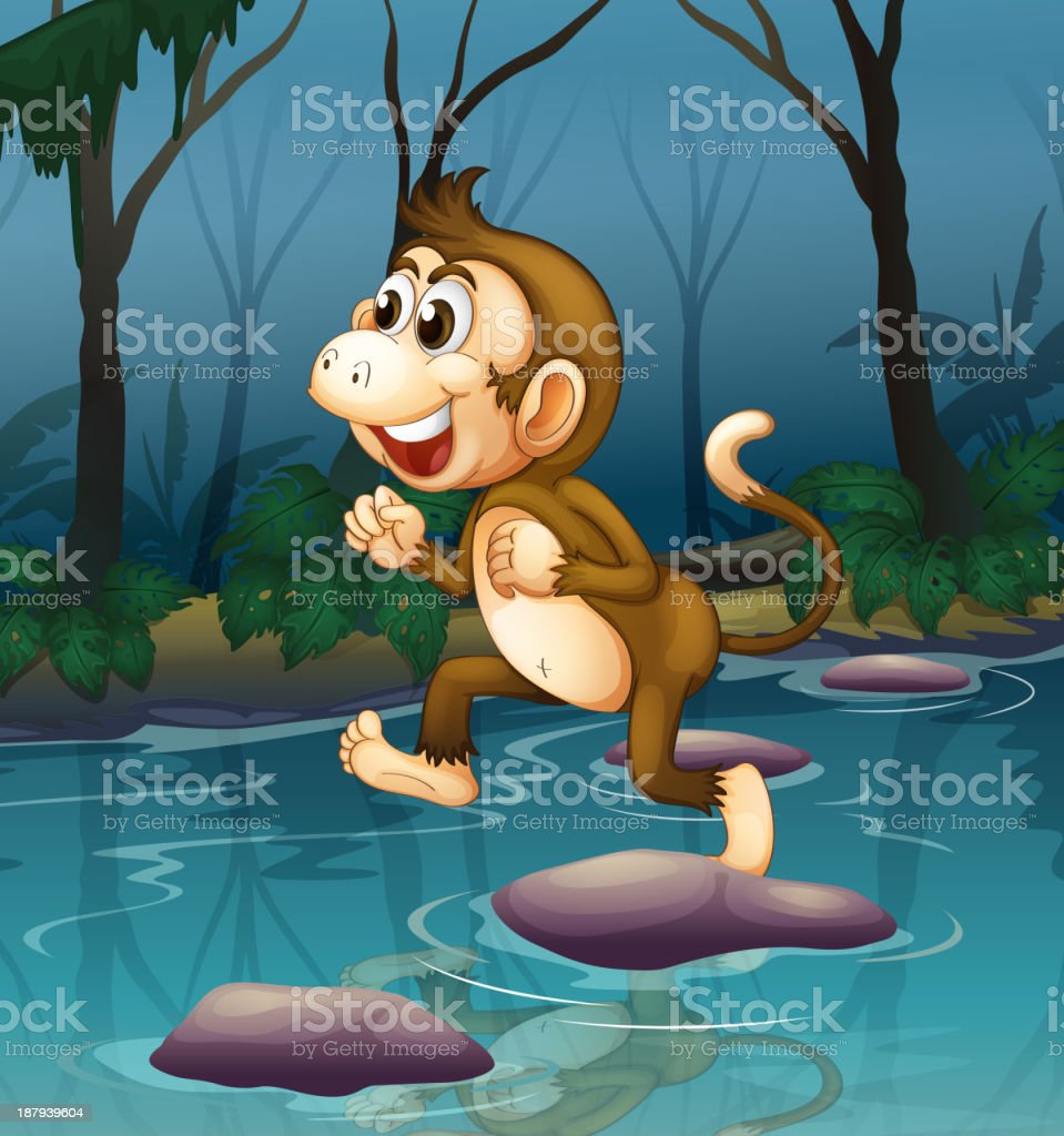 monkey smiling while crossing the river royalty-free stock vector art