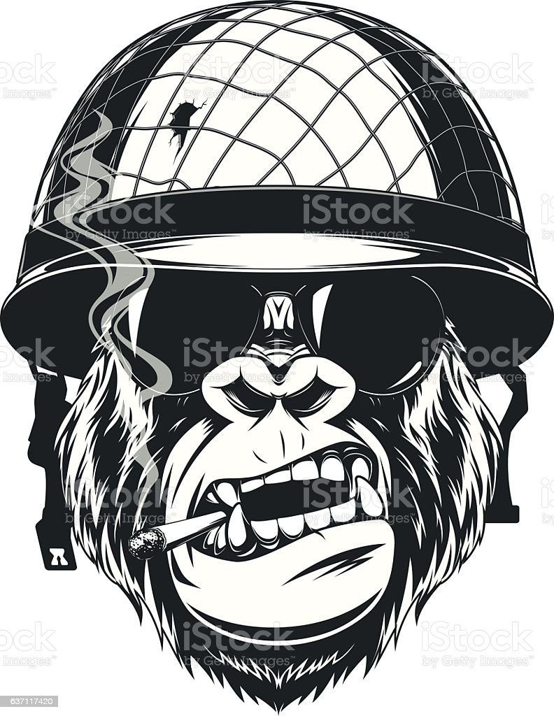 Monkey soldier with a cigarette vector art illustration