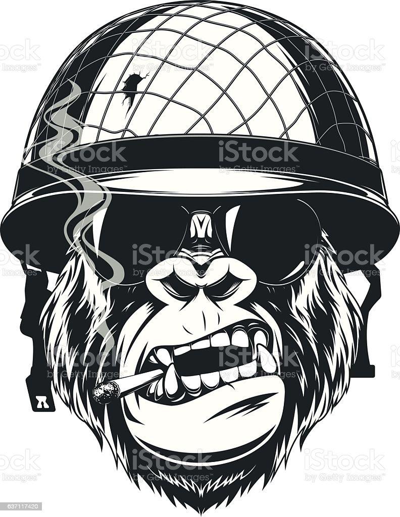 Monkey soldier with a cigarette - ilustración de arte vectorial
