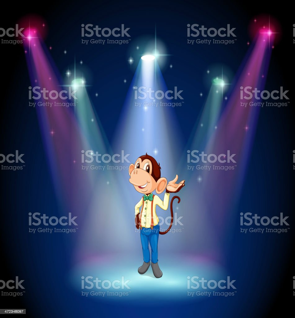 monkey standing at the stage royalty-free stock vector art