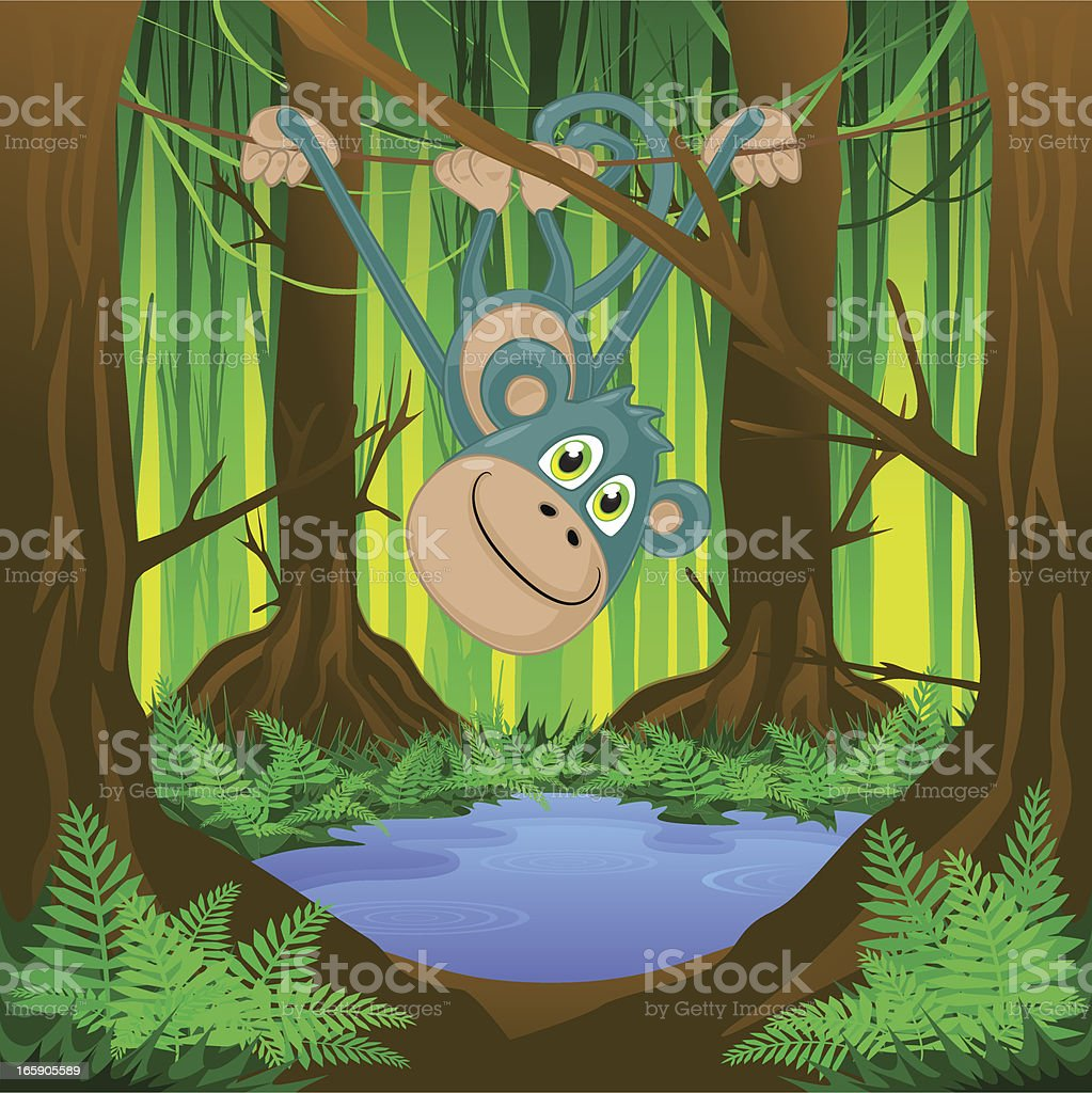 Monkey swinging in the jungle! royalty-free stock vector art