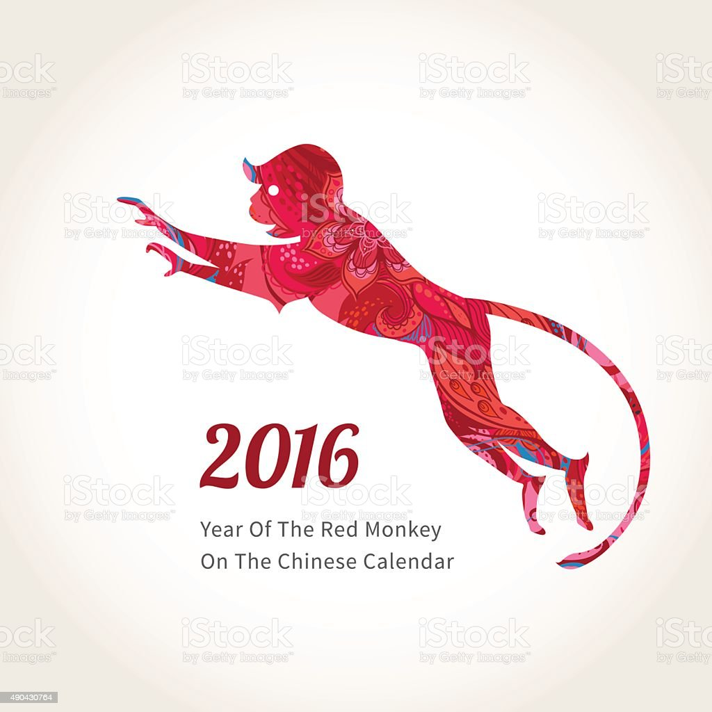 Monkey Symbol Of 2016 On The Chinese Calendar Stock Vector Art