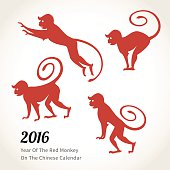 Vector illustration of monkey, symbol of 2016 on the Chinese calendar. Silhouettes of red monkeys. Vector element for New Year's design. Image of 2016 year of Red Monkey.