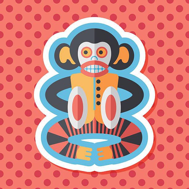 stockillustraties, clipart, cartoons en iconen met monkey toy flat icon with long shadow,eps10 - cimbaal