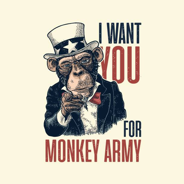 ilustrações de stock, clip art, desenhos animados e ícones de monkey uncle sam with pointing finger at viewer. i want you for army lettering. - míssil terra ar