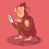 Monkey using a Smartphone vector illustration.