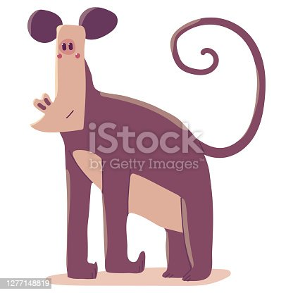 istock Monkey vector cartoon illustration isolated on a white background. 1277148819