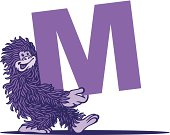 A monkey is carrying the letter 'M'. Please check out my other images :)