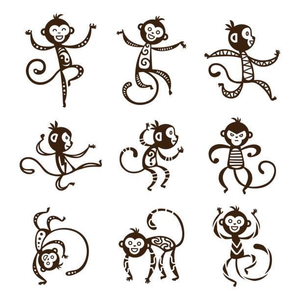 monkey vektor-illustration - neuweltaffen und hundsaffen stock-grafiken, -clipart, -cartoons und -symbole