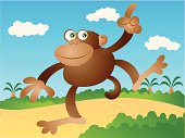 Vector cartoon of happy Monkey Waving