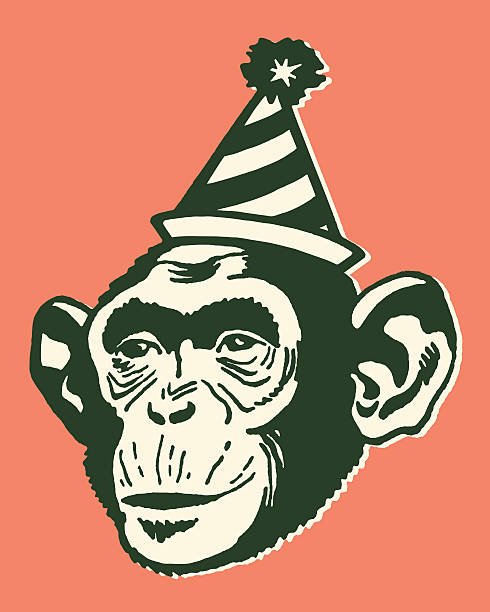 monkey wearing party hat - bachelor party stock illustrations, clip art, cartoons, & icons