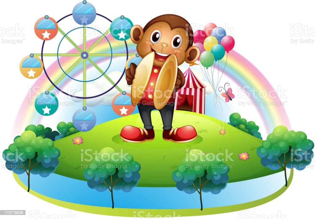 monkey with a ferris wheel and balloons at the back royalty-free monkey with a ferris wheel and balloons at the back stock vector art & more images of amusement park