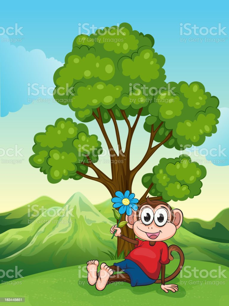 monkey with a flower sitting under the tree royalty-free stock vector art