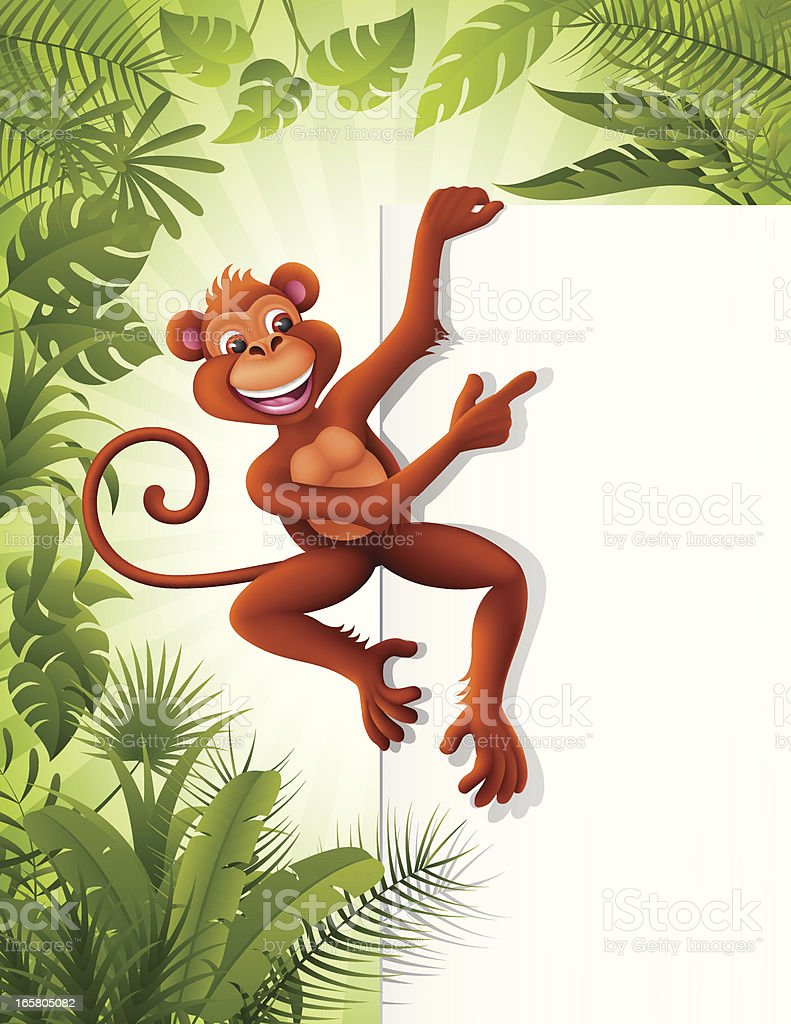 Monkey with a sign in the jungle royalty-free stock vector art