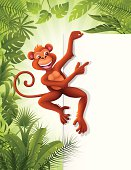 Monkey with a sign in the jungle. High Resolution JPG,CS5 AI and Illustrator 0.8 EPS included.