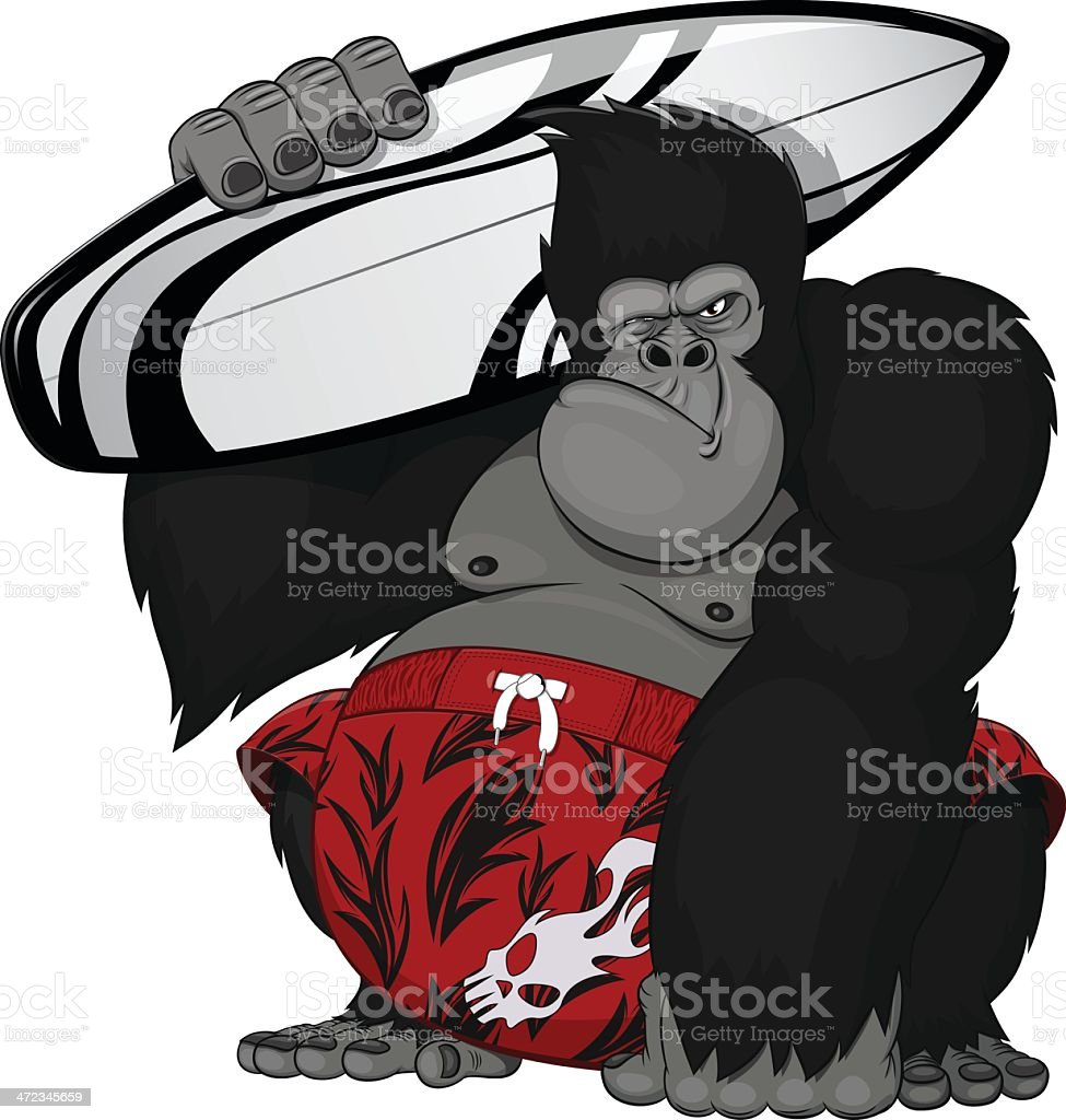 monkey with a surfboard royalty-free stock vector art