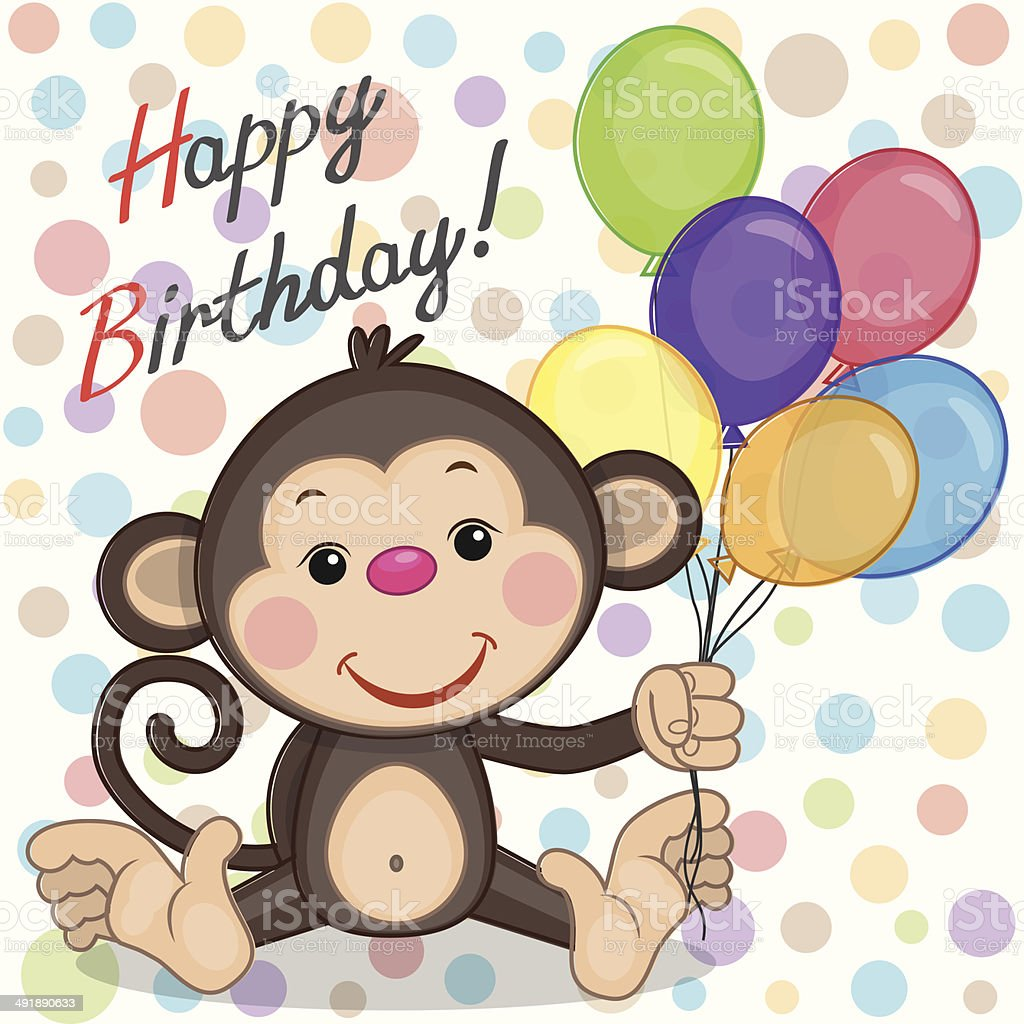 Monkey with balloons royalty-free stock vector art