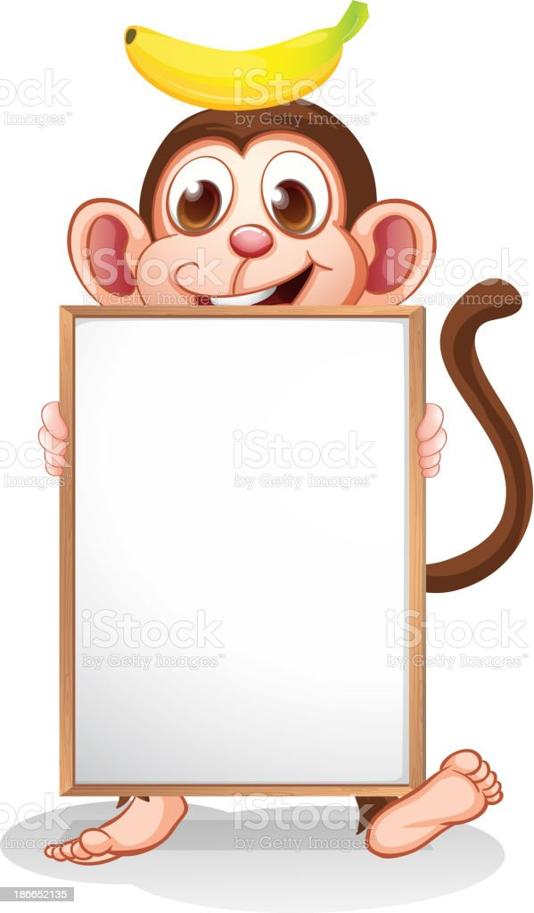 monkey with banana above his head holding empty whiteboard