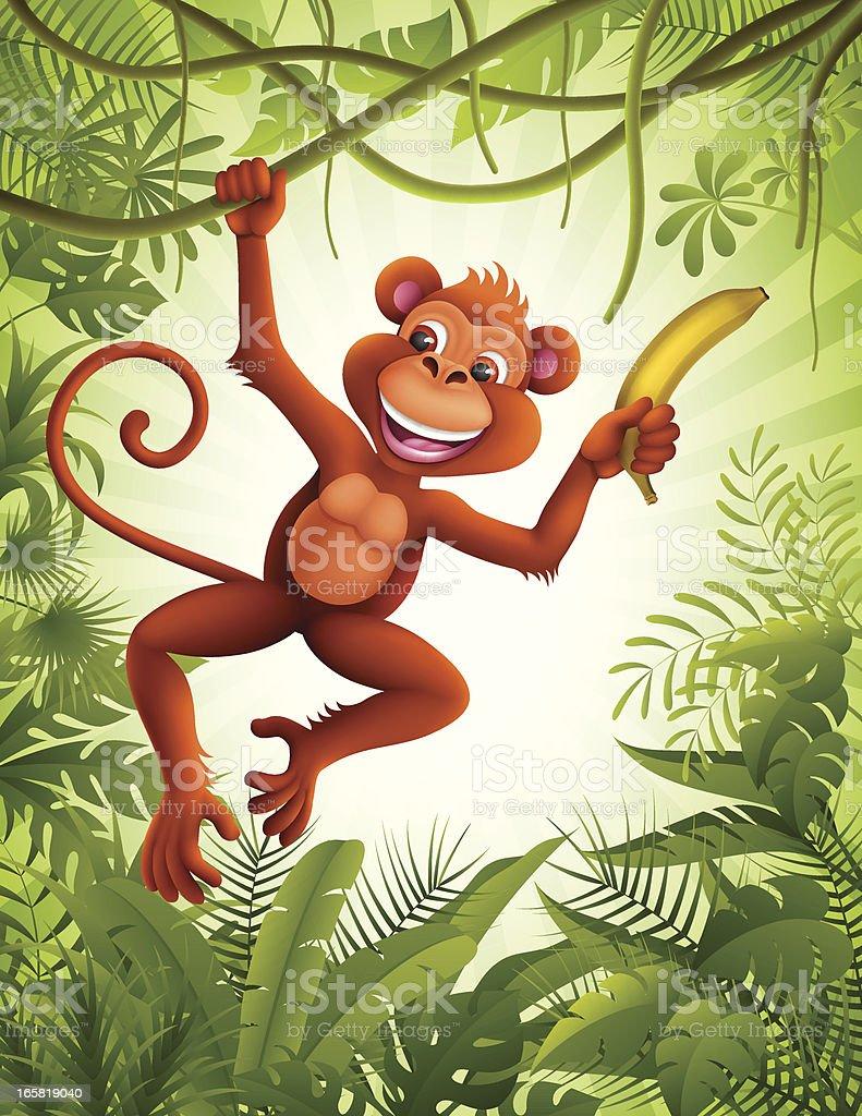 Monkey with banana royalty-free stock vector art