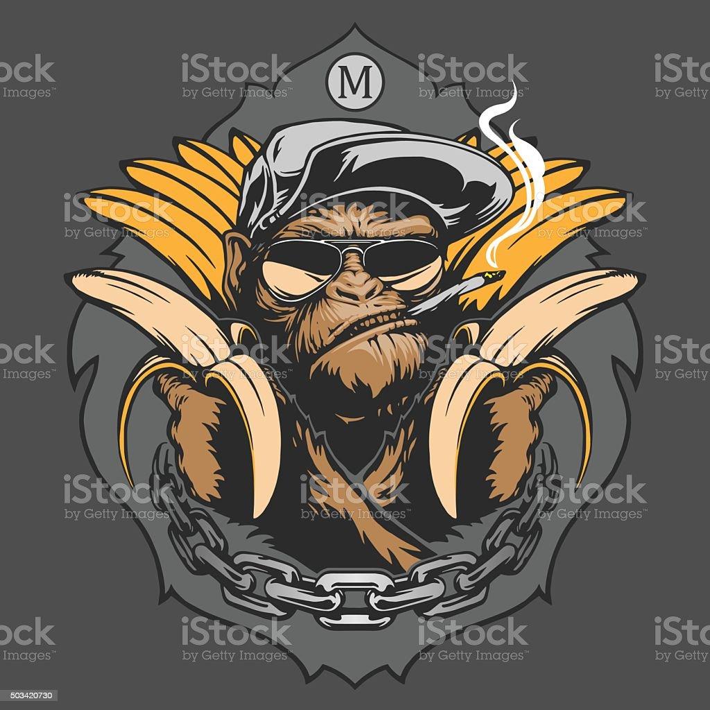 Monkey with bananas vector art illustration