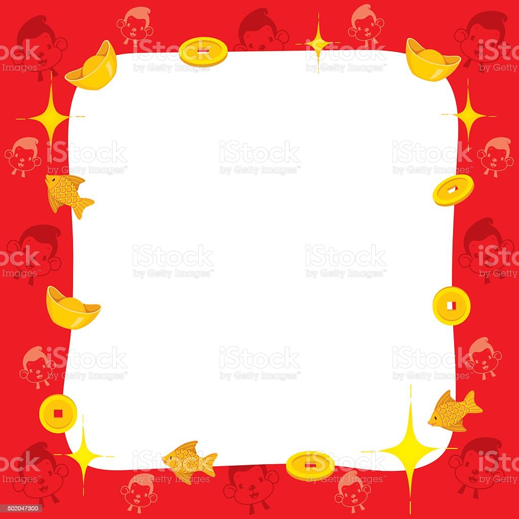 monkey with chinese new year border royalty free monkey with chinese new year border stock