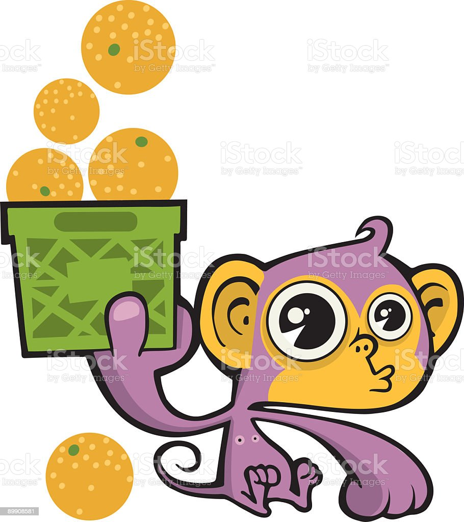 Monkey with Crate Full of Oranges royalty-free monkey with crate full of oranges stock vector art & more images of animal