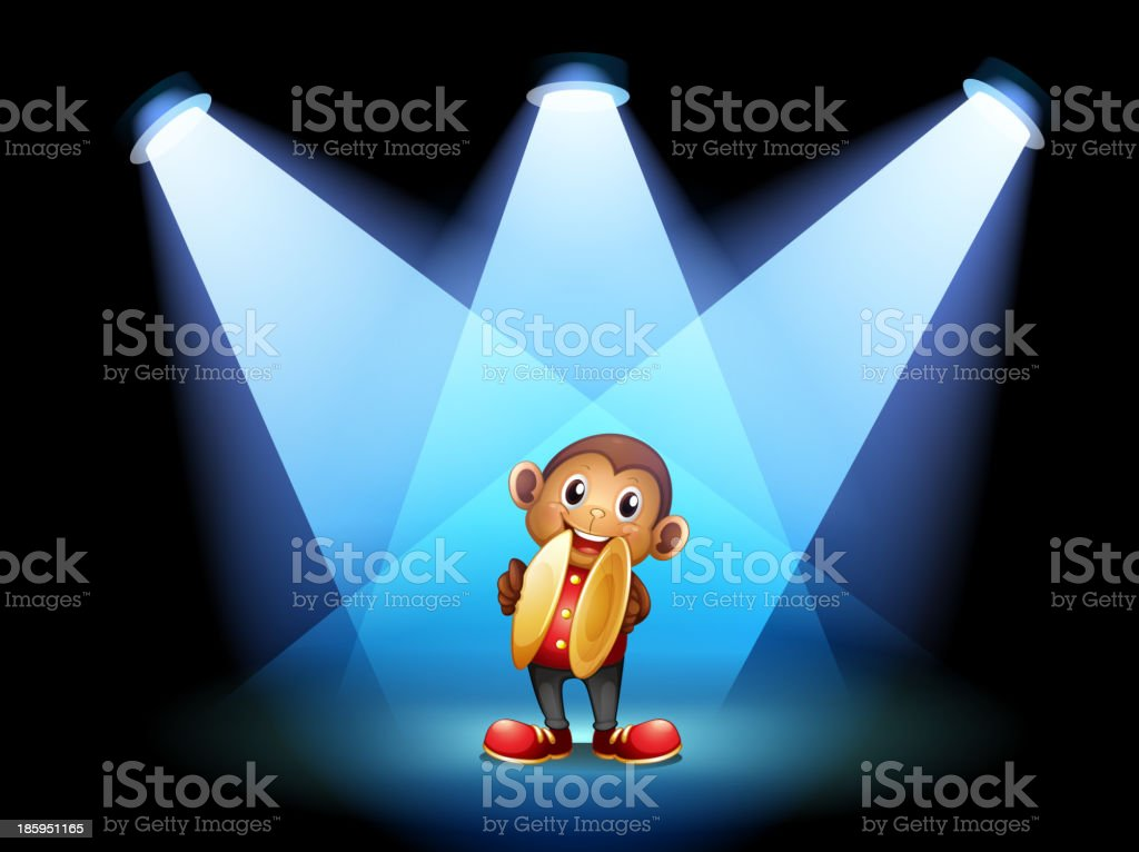monkey with cymbals at the stage royalty-free stock vector art