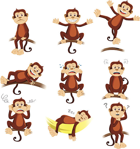 Monkey with different expression vector art illustration