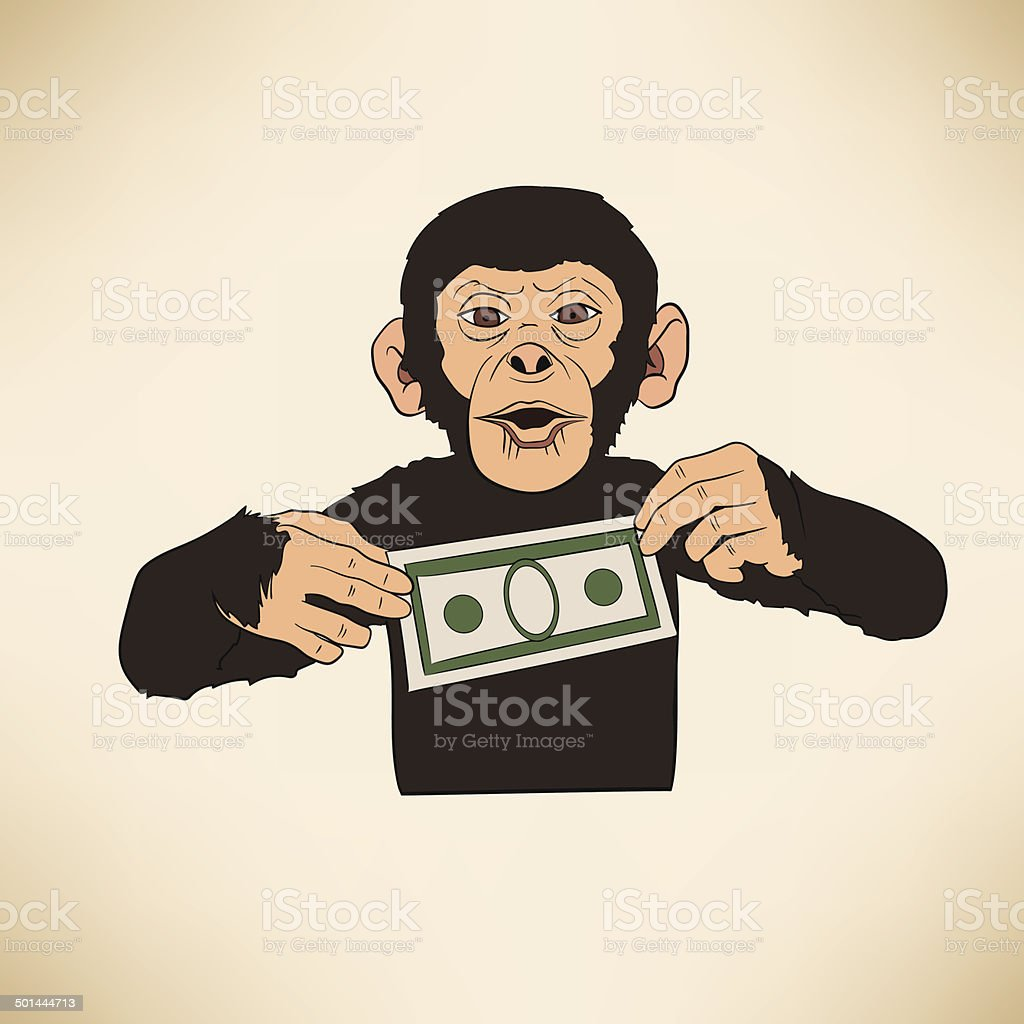 Monkey with dollar royalty-free stock vector art