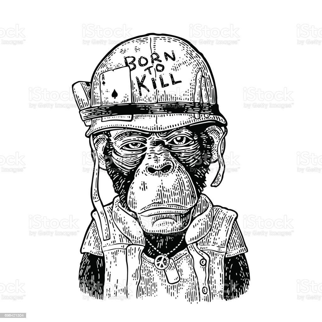 Affe mit Helm, Brille, Peace-Zeichen, Schriftzug Born to kill – Vektorgrafik