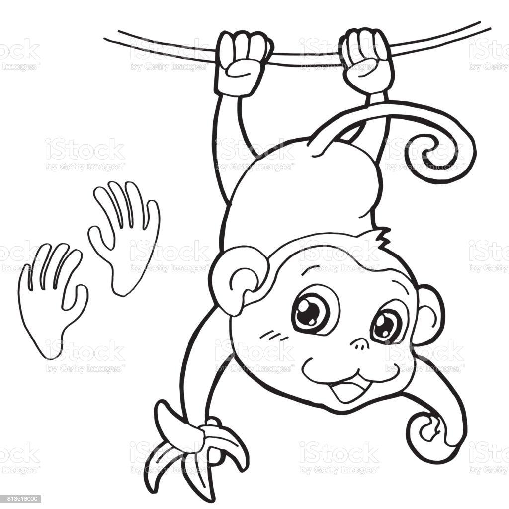Pençe Baskı Boyama Page Vektör Ile Maymun Stok Vektör Sanatı