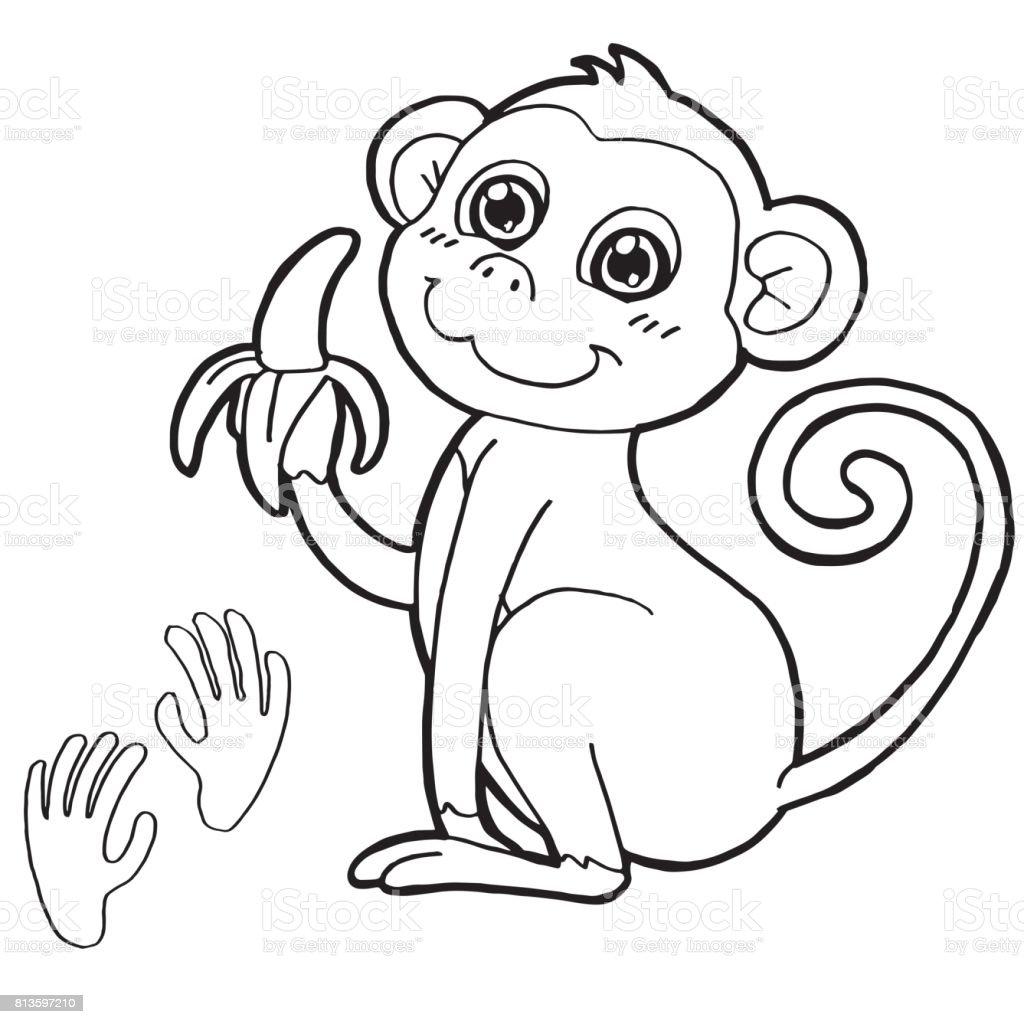 Pence Baski Boyama Page Vektor Ile Maymun Stok Vektor Sanati