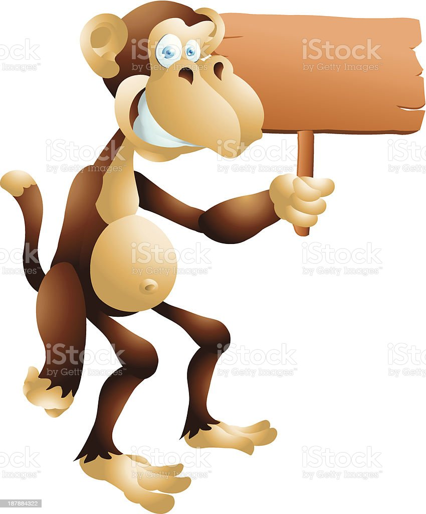 Monkey with sign royalty-free monkey with sign stock vector art & more images of advertisement