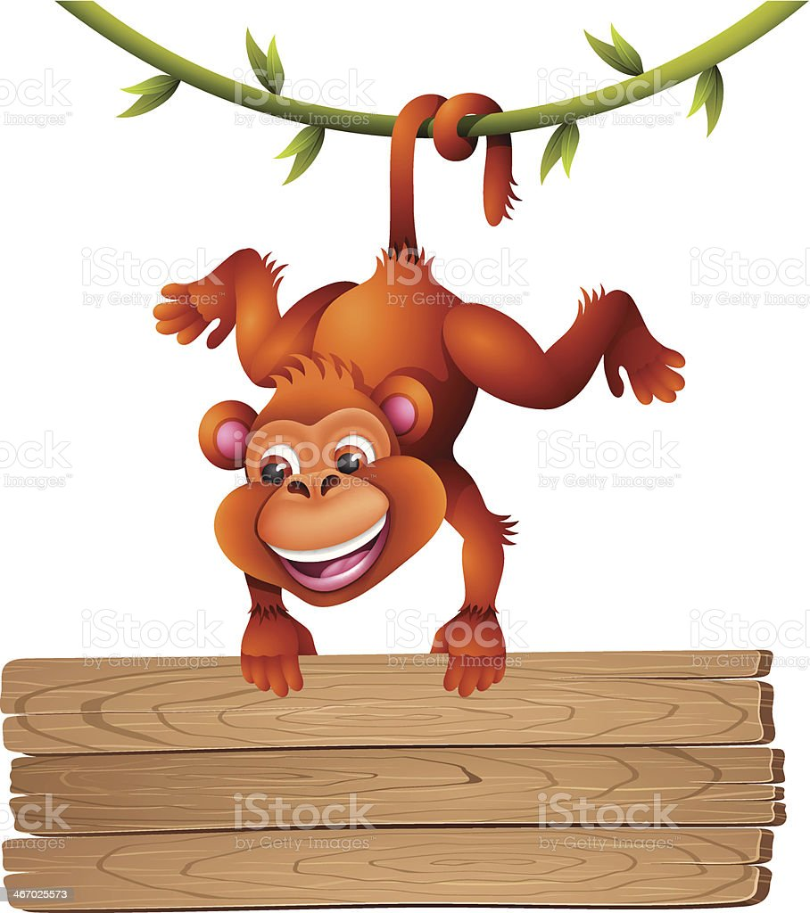 Monkey with Sign royalty-free stock vector art