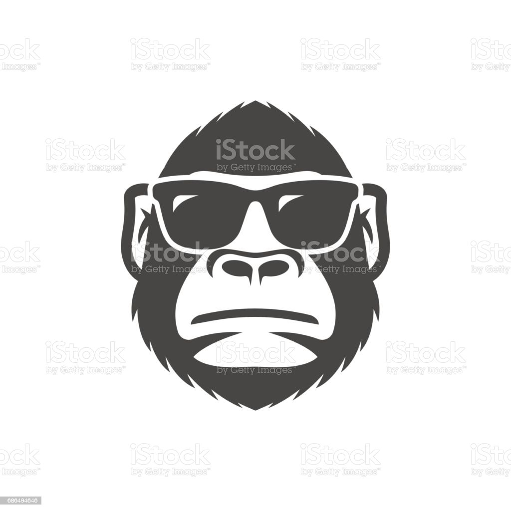 Monkey with sunglasses mascot vector art illustration