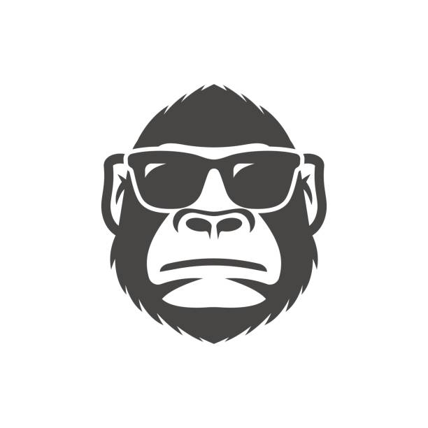 ilustraciones, imágenes clip art, dibujos animados e iconos de stock de mono con mascota de gafas de sol - gorila