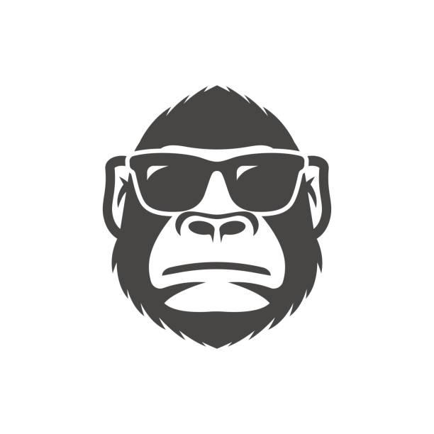 monkey with sunglasses mascot - gorilla stock illustrations