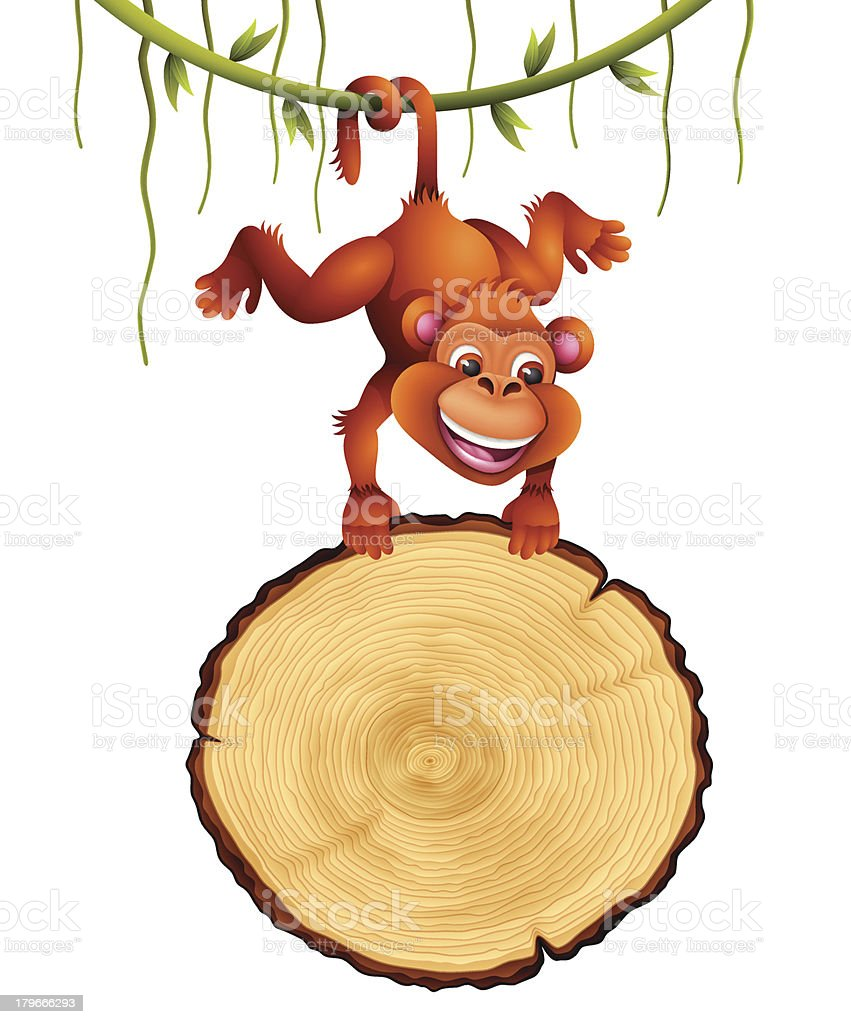 Monkey with Tree Rings Sign royalty-free stock vector art