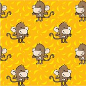 Seamless Pattern of cute smiling monkeys with bananas in the background