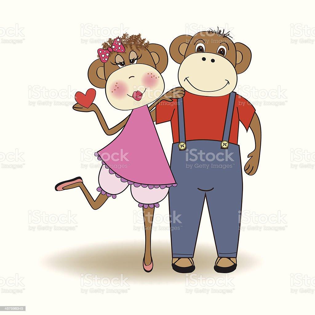 猿愛のカップル のイラスト素材 457596345   istock