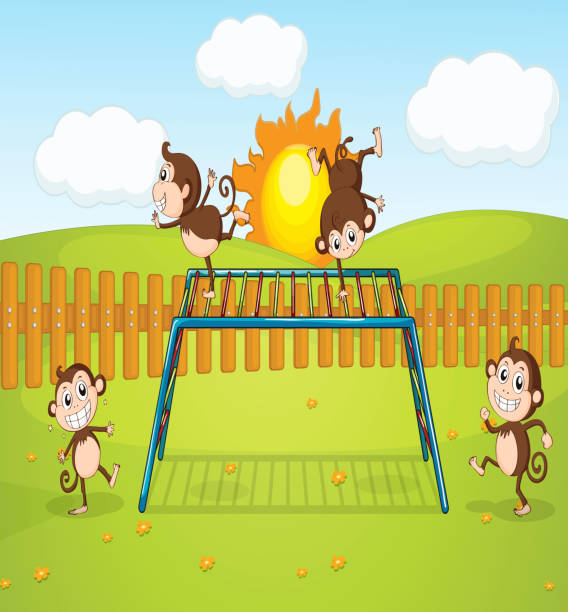 monkeys playing on monkey-bar - monkey bars stock illustrations, clip art, cartoons, & icons