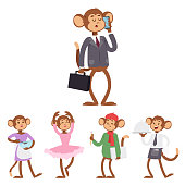 Monkeys rare animal vector cartoon macaque like people nature primate character wild zoo ape chimpanzee illustration