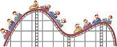 Monkeys riding on roller coaster on white background illustration