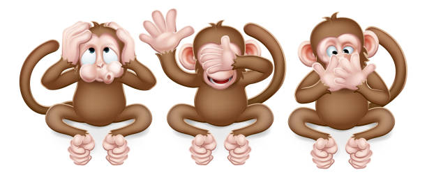 Monkeys See Hear Speak No Evil Cartoon Characters The monkeys from the saying see, hear and speak no evil cute cartoon characters. hear no evil stock illustrations