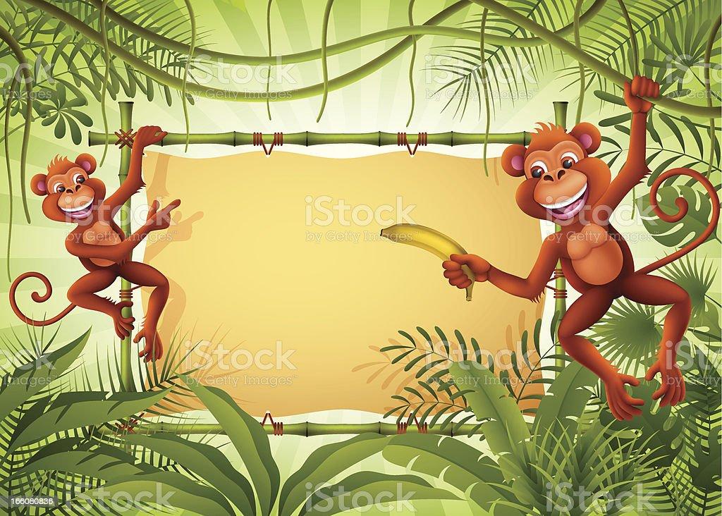 Macacos na selva com banner - ilustração de arte em vetor