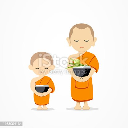 Monks bowl and thai novice, of Buddhism vector design, illustration